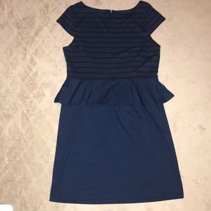 Elle Dresses - Elle peplum cap sleeve blue dress w stripes large